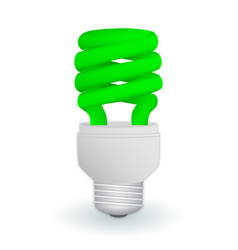 Fluorescent green economical light bulb isolated vector