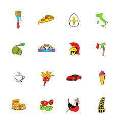 italy set icons set cartoon vector image