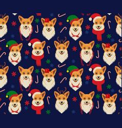 seamless christmas pattern with corgis vector image vector image