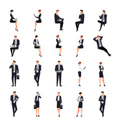 set of businessmen in a flat style isolated vector image