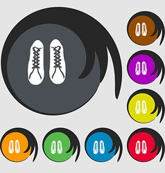 shoes icon Symbols on eight colored buttons vector image vector image