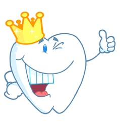 Tooth Character Wearing A Crown vector image vector image