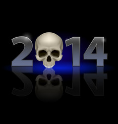 2014 metal numerals with skull instead of zero vector