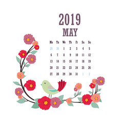 2019 calendar with colorful birds and flowers vector