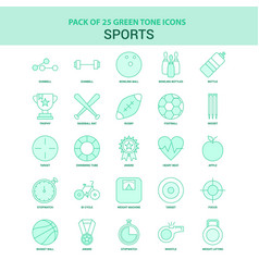25 green sports icon set vector