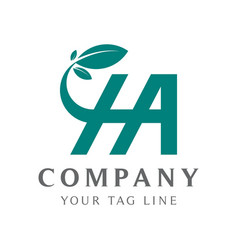 abstract ha logo with color gradations connecting vector image
