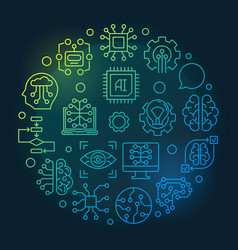 Artificial intelligence round colored line vector