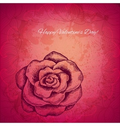 Artistic valentine background with ink style hand vector image
