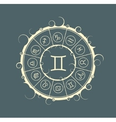 Astrology symbols in circle Twins sign vector image