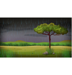 Background scene with rain in the park vector