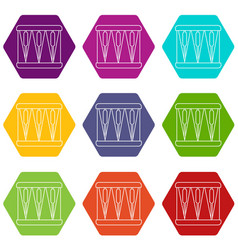 Bass drum icons set 9 vector