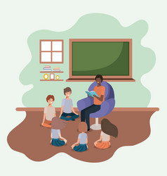 black man reading book in the sofa with kids vector image