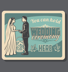 bride and groom on wedding ceremony marriage vector image
