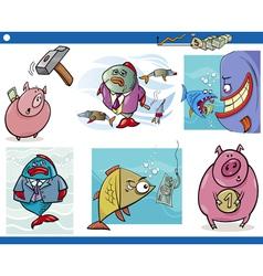 Business cartoon concepts set vector