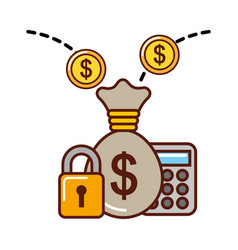 business money bag calculator coins security vector image