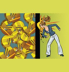 Businesswoman seeks to get rich hit the wall head vector