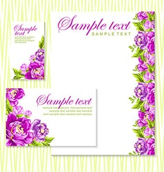 card with pink peonies vector image
