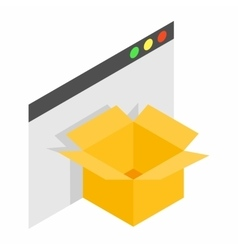 Cardboard box with file isometric 3d icon vector