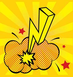 cartoon lightning with fire pop art style vector image