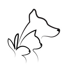 Cat dog and rabbit silhouettes logo vector