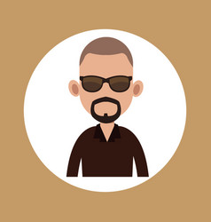 Character man bearded with sunglasses vector