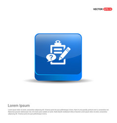 check list ok icon - 3d blue button vector image
