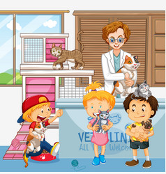 Children bring their pet to see a veterinary vector