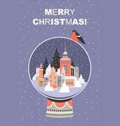 christmas card with a big glass ball vector image