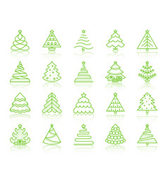 Christmas tree simple color line icons set vector