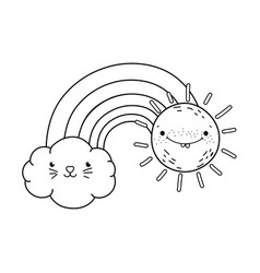 clouds and rainbow with sun kawaii characters vector image