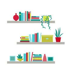 Collection bookshelves vector