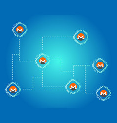 Cryptocurrency monero on blue background vector