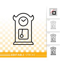 cuckoo clock simple black line icon vector image