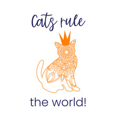Doodle orang cat mandala with crown and quote vector