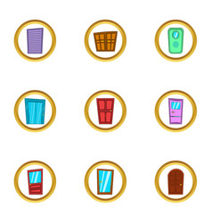 door exterior icons set cartoon style vector image
