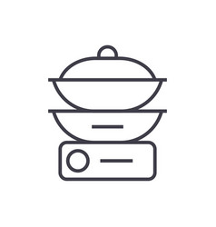 Double boiler line icon sign vector