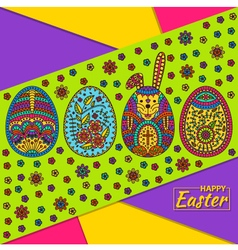 Easter pattern with eggs and white easter rabbit vector image