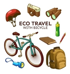 Eco Bicycle Travel Elements Set vector
