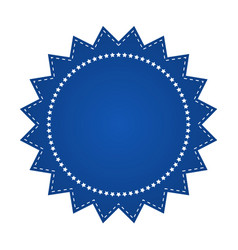 Embroidered blue round ribbon stamp isolated on vector