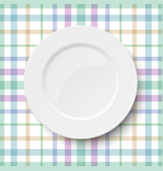 Empty classic white plate placed on a kitchen vector