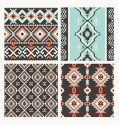 ethnic tribal seamless patterns set vector image