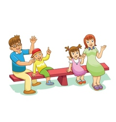 Family sitting on a see saw vector