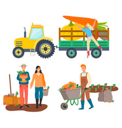 Farming people tractor transportation goods vector