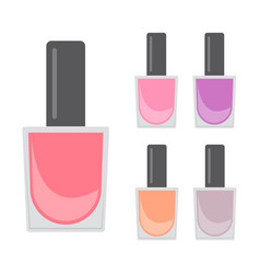 five bright nail varnishes vector image