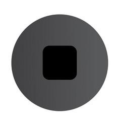 Flat black stop icon vector