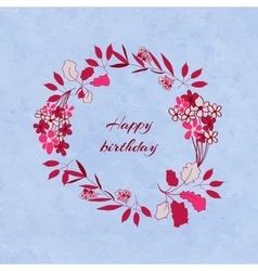 Floral birthday wreath vector
