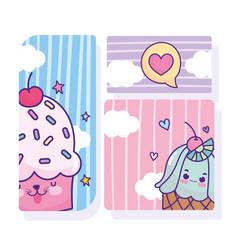 food cute cupcakes love heart cards cartoon vector image
