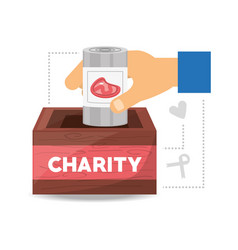 Food donation support to charity of the people vector