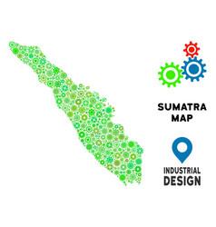 Gears sumatra island map mosaic vector