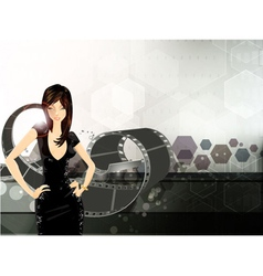 glamour girl with film strip vector image